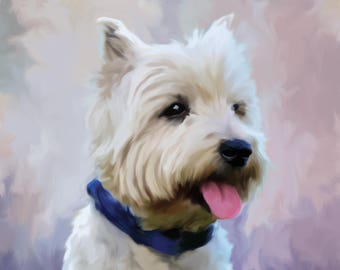 West Highland Terrier Print, Westie Gift, Dog Painting, Wall hanging, Dog Lover Gift