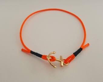 Neon orange bracelet Golden anchor