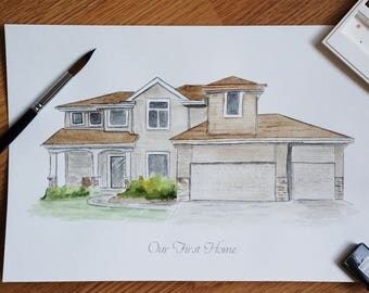 Home Portrait Watercolor / custom home watercolor / New Home Gift / Realtor Gift / Watercolor House Portrait / moving away gift