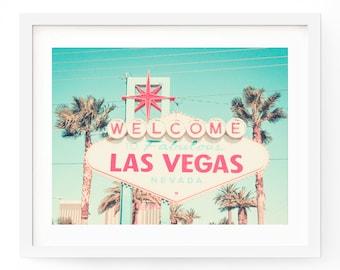 Las Vegas Sign Print - Welcome to Las Vegas - Retro Sign - Travel Photography
