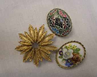 3 Vintage Brooches
