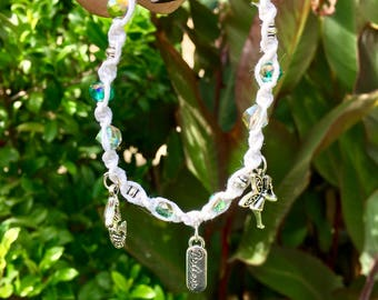 Peter Pan tinker bell  hemp beaded charm bracelet with glass beads and silver plated beads