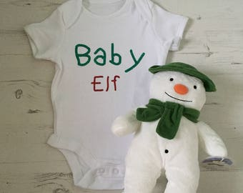Baby Elf Christmas slogan babygrow/vest in white with print