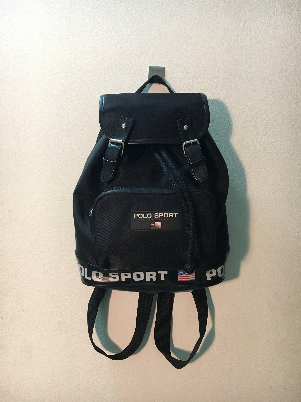 492affec5d6 Vintage Polo Sport Bag Ralph lauren backpack mini rucksack Color Black  backpack