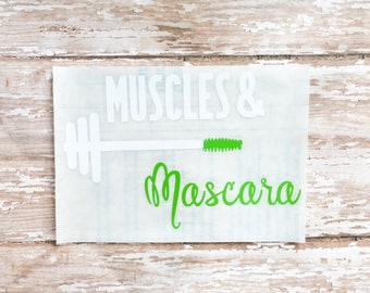 Muscles and mascara, Fitness planner, Fitness gifts, Fitness stickers, Fitness Motivation, water bottle decal, car sticker, Car decal