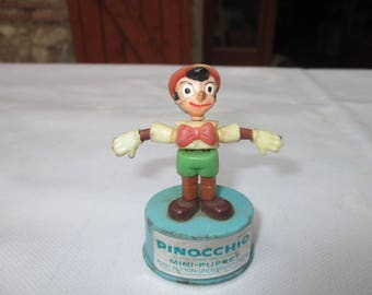 Vintage Walt Disney Kohner Bros Pinocchio Mini Push Puppet ( A bit Grubby from use)
