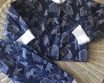 Boys size 0 Navy & white woodland flannelette pajamas/pyjamas