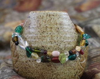 Viking inspired double strand bracelet,green and multicolored glass,silver plated lobster clasp, accent beads,twisted rings, B153