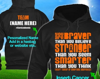 Personalized Leukemia Kidney Cancer Awareness Hoodie Orange Ribbon Braver Men Women Kid Youth Custom Unisex Pullover Gift Winter Cloth