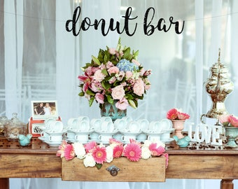 DONUT BAR  - glitter banner / snack bar / donuts / birthday / sweets table / party decoration / photo backdrop/ donut party decoration