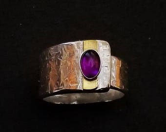 Amethyst | Sterling Silver & Gold Ring | Inspirational Gemstone | Positive Energy | Adjustable | February Birthstone | Pantone Ultra Violet
