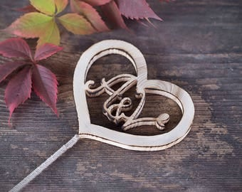 Personalized wedding cake topper, wood cake topper, rustic wedding cake topper, heart shape cake topper, cup cake topper, topper with holder