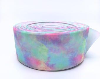 """Pastel Rainbow Clouds 3"""" 3 Inch Width Grosgrain Ribbon per Meter"""