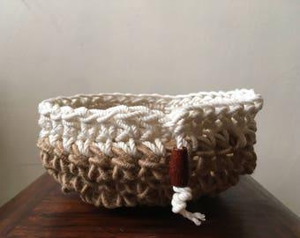 Hand Crochet Basket, (Brown & White), gift basket, basket