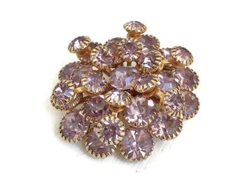 Lilac Brooch Layered with Prong Set Rhinestones