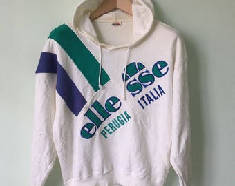 Vintage 90's Ellesse Perugia Italia Hoodie Sweatshirt Big Logo Spell Out Colourful Pop Art Style