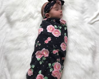Floral Rose Swaddle, Sleep Sack, Baby Sleeping Bag, Cocoon Swaddle, Baby Blanket, Swaddle ONLY