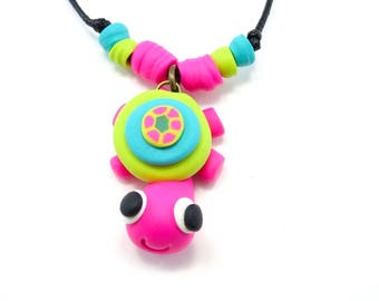 Pink turtle necklace