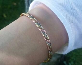 ON SALE! Solid Brass, Copper,and Silver Magnetic Adjustable Bracelet