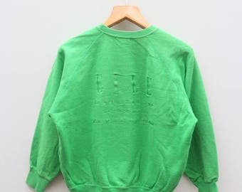 Vintage ELLE Sports Green Pullover Sweater Sweatshirts Size 38