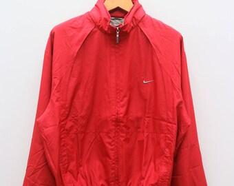 Vintage NIKE Small Logo Sportswear Red Zipper Windbreaker Jacket Size XXL