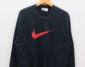 Vintage NIKE Sportswear Big Logo Black Sweater Sweatshirt Size L
