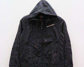 Vintage ASK ENQUIRED Sportwear Black Zipper Hoodies Windbreaker Jacket Size M