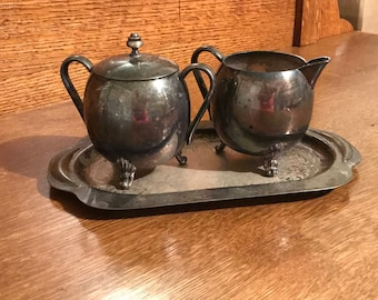 Vintage Silverplate Sugar and Creamer Set on Tray