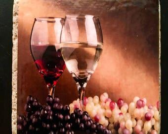 Natural Stone Drink Coasters - set of 4 - wine / vineyard