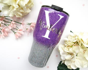 Purple and Holographic Silver Ombre Mixed Glitter Tumbler - Glitter Tumbler - Ombre Tumbler - Glitter Yeti - RTIC - Purple Tumbler