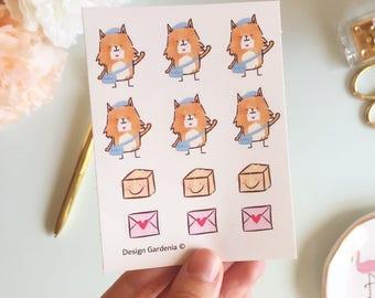 Happy Mail Stickers • Postman Sticker • Design Gardenia • Envelope Stickers • Sunny Fox Stickers •  Parcel Stickers • Post Stickers