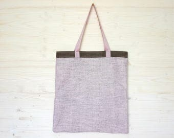 Linen Canvas Bag, Eco Friendly Bag Linen Tote Bag, Canvas Tote, Pink Canvas Bag, Shopping Bag, Large Tote Bag, Eco Bag, Soft Linen Bag
