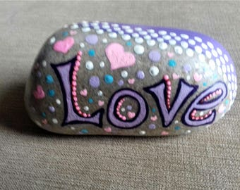 Love Rock, hand painted beach pebble, painted rock from Cornwall,  Cornish gift.