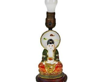 Vintage 1920's Takito Japanese Moriage Figural Lamp