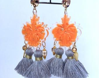 "Earrings ""Rococo"" orange blossom"