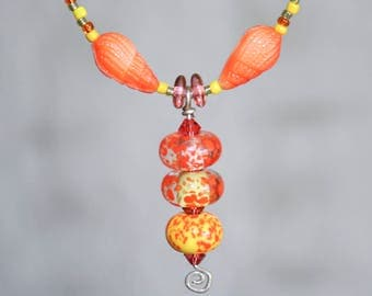 Orange Lampwork Glass Shell Beaded Necklace