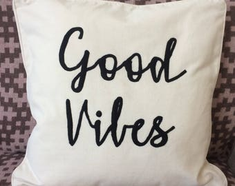 Good Vibes Cushion | Slogan Cushion | Wedding Gift Cushion | Valentines Gift Cushion | Birthday Gift Cushion | Slogan Cushion