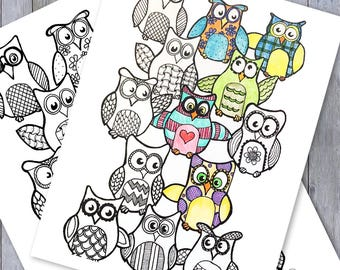 Owl Fun - Adult Coloring Page