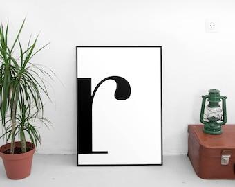 Letter r, r Print, r Poster, Letters Art, Letters Typography, Letter Wall Art, Scandinavian Letter, Affiche Scandinave, Black Letter r