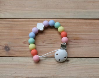 Pacifier clip- Rainbow cloud, soother safer, dummy chain, chewable pacifier chain