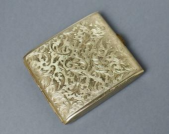 Old  Cigarette Case Vintage Cigarette Case Gift For Her Gold Pattern  Hunting Retro Cigarette Case Vintage Metall Cigarette Case