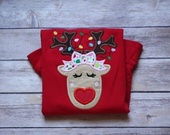 Girly Reindeer with Heart Nose Appliqué Christmas Shirt with Christmas Lights, Christmas Light Reindeer Appliqué Shirt, Girl Christmas Shirt
