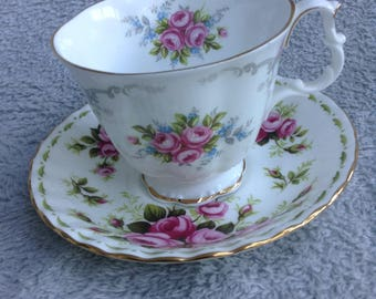 Royal Albert bone China cup and saucer, 2 Diferent patterns,Tranquility and roses.