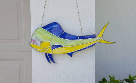 Stained Glass Mahi Mahi Dorado Dolphin