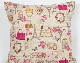 French Paris Eiffel tower beige cotton cushion cover, 16 inch shabby chic pink handbag cushion cover, vintage style cushion cover, gift idea