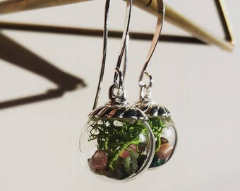 Gemstone Terrarium Earrings