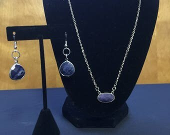 Purple stone, silver chain necklace and earrings