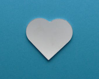 Aluminium stamping blanks, 5x, 30mm HEART (1.5mm depth), metal blanks, hand stamping blanks, heart blank, love blank, pointed heart blanks