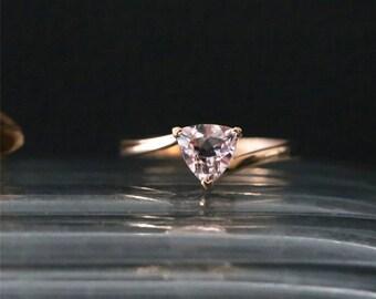 Elegant Plain Solid Gold Ring Natural 6mm Trillion Cut Peach Morganite Engagement Ring Gemstone Bridal Ring 14K Rose Gold Anniversay Ring