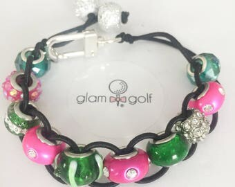 Classy Beaded golf score stroke counter bracelet or clip on your golf bagmade with green, pink , and crystal beads